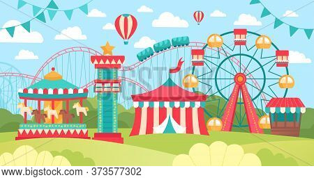 Brightly Colored Scene In An Amusement Park Or Fairground With Ferris Wheel, Carousel And Marquis On