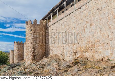Fortification Walls And Towers In Avila, Spain