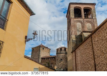 San Sebastian Church And Casa De Las Cadenas Building In The Background In Segovia, Spain