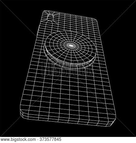 Smartphone Cellphone Pop Socket Holder. Wireframe Low Poly Mesh Vector Illustration.