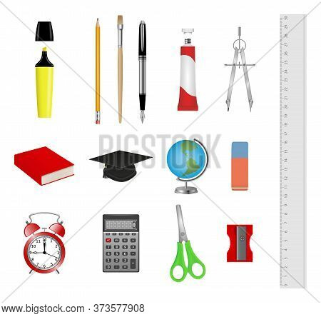 Set Of School Supplies. Realistic Illustration Of School Accessories.