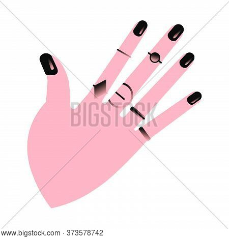 Hand Showing Manicure And Nail Care. Vector Illustration.