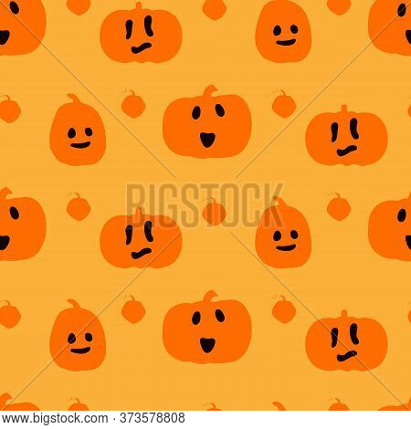 Pumpkins Silhouette With Cute Faces Halloween Seamless Pattern. Orange Squash Different Shapes And E