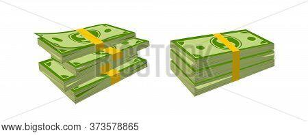 Big Packing Money Banknotes Flat Cartoon. Neat Cash Heaps, Bundles Bank Notes. Green Dollar In Vario