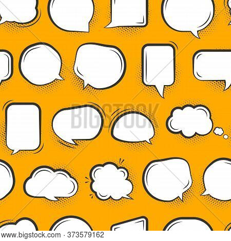 Speech Soap Bubble Seamless Pattern. Pop Art Limitless Background With White Flat Cartoon Talk, Mess