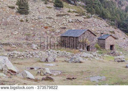 Stone Huts In Parc Natural Comunal De Les Valls Del Comapedrosa National Park In Andorra