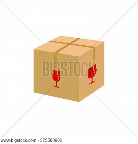 Crate Boxes 3d With Combination Fragile Symbol, Cardboard Box Brown, Flat Style Cardboard Parcel Box