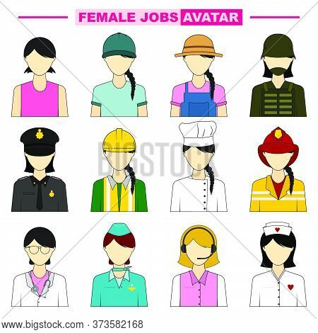 Set Object Of Female Jobs Avatar Vector Illustration. Perfect Template For Avatar Or Character Icon