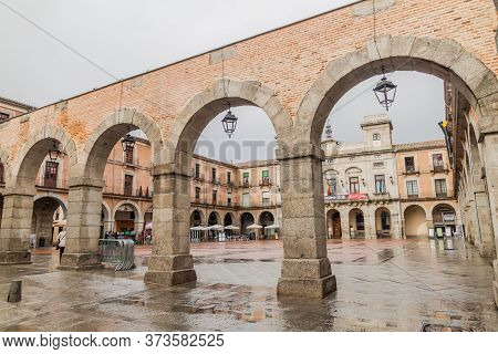 Avila, Spain - October 19, 2017: Plaza Mercado Chico Plaza Mayor Square In Avila.