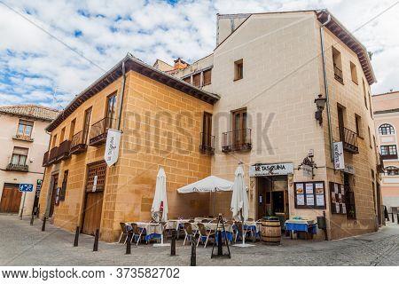 Segovia, Spain - October 20, 2017: Houses In The Old Town Of Segovia, Spain