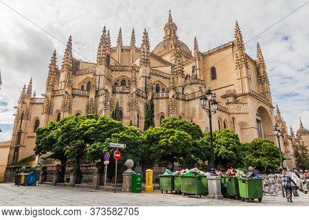 Segovia, Spain - October 20, 2017: Cathedral In Segovia, Spain