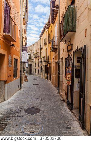 Segovia, Spain - October 20, 2017: Narrow Street In The Old Town Of Segovia, Spain