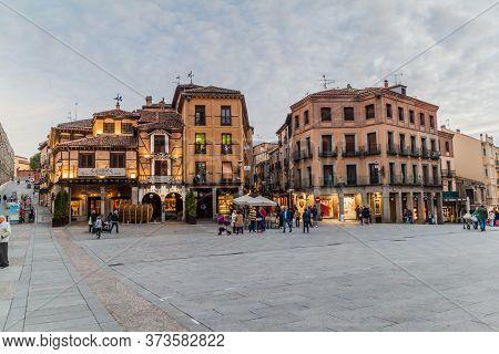 Segovia, Spain - October 20, 2017: Old Buildings At Plaza Azoguejo Square In Segovia, Spain