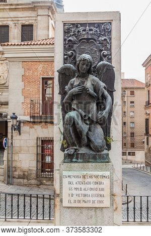Madrid, Spain - October 22, 2017: Memorial Of The Victims Of The Assassination Attempt On Alfonso Xi