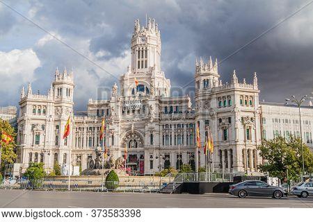 Madrid, Spain - October 22, 2017: Cybele Palace Palacio De Cibeles In Madrid.