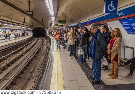 Madrid, Spain - October 22, 2017: View Of A Metro Station Sol In Madrid.