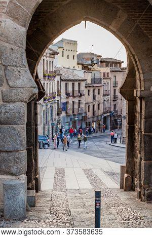 Toledo, Spain - October 23, 2017:view Through Puerta Del Sol Gate In Toledo, Spain