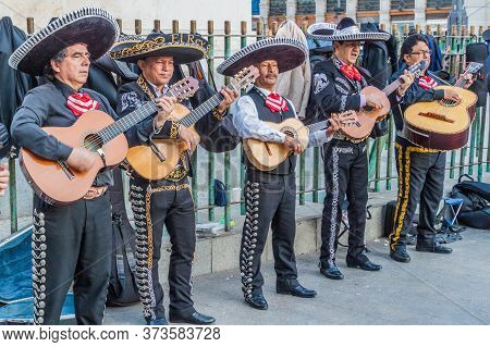 Madrid, Spain - October 24, 2017: Group Of Mariachi Performing At Puerta Del Sol Square In Madrid.