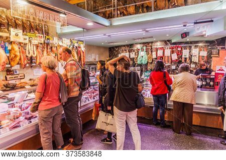 Madrid, Spain - October 25, 2017: Butcher Store In The Center Of Madrid, Spain