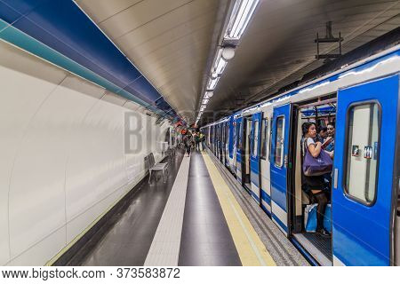Madrid, Spain - October 25, 2017: Train In A Metro Station In Madrid.