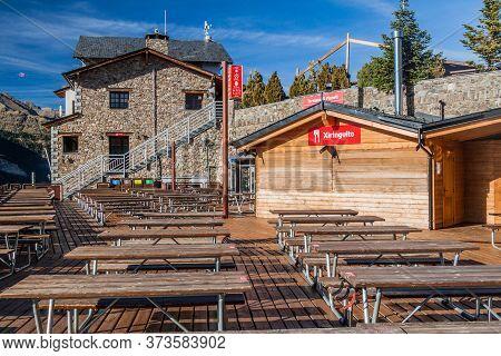 La Serra, Andorra - October 26, 2017: Outdoor Restaurant Terrace At La Serra Ski Resort, Andorra