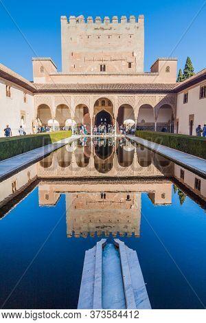 Granada, Spain - November 2, 2017: Court Of The Myrtles Patio De Los Arrayanes At Nasrid Palaces Pal