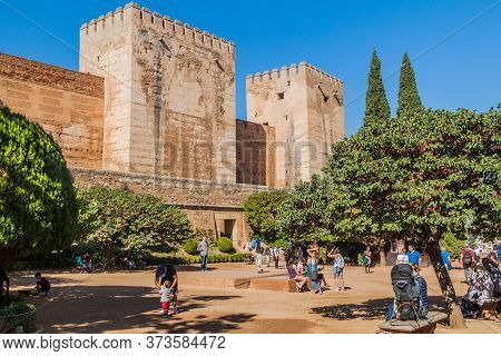 Granada, Spain - November 2, 2017: Fortification Walls Of Alhambra In Granada, Spain