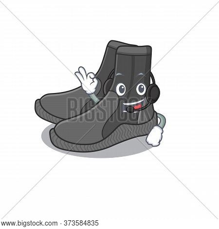 Dive Booties Caricature Character Concept Wearing Headphone