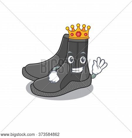 A Humble King Of Dive Booties Caricature Design Style With Gold Crown