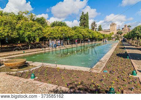 Cordoba, Spain - November 5, 2017: Fountains At Alcazar De Los Reyes Cristianos In Cordoba, Spain