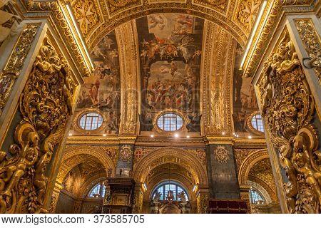 Valletta, Malta - November 7, 2017: Interior Of St Johns Co-cathedral In Valletta, Malta
