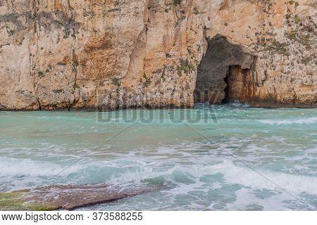 Inland Sea Tunnel Connecting A Lagoon To The Sea, Gozo Island, Malta
