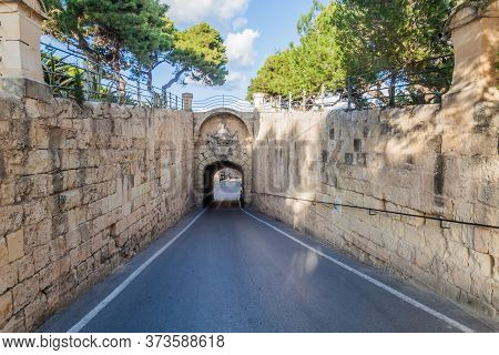 Gate To The Fortified City Mdina In The Northern Region Of Malta