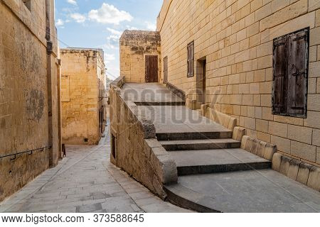 Narrow Streets In The Fortified City Mdina In The Northern Region Of Malta