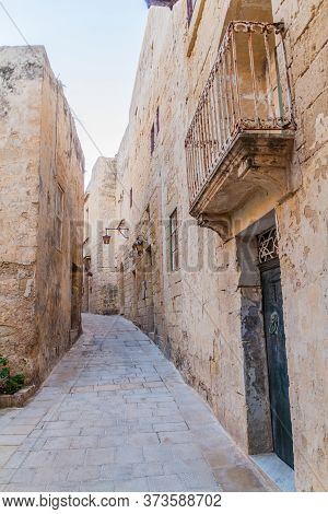 Narrow Street In The Fortified City Mdina In The Northern Region Of Malta
