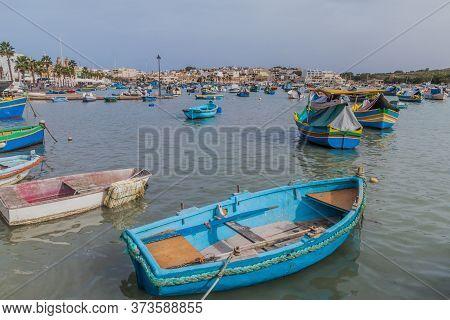 Fishing Boats In The Harbor Of Marsaxlokk Town, Malta