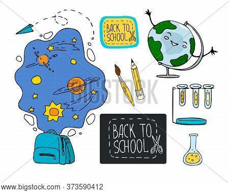 Hand Drawn Doodle Style Vector Illustration Back To School. Education Concept. Design For Decorating