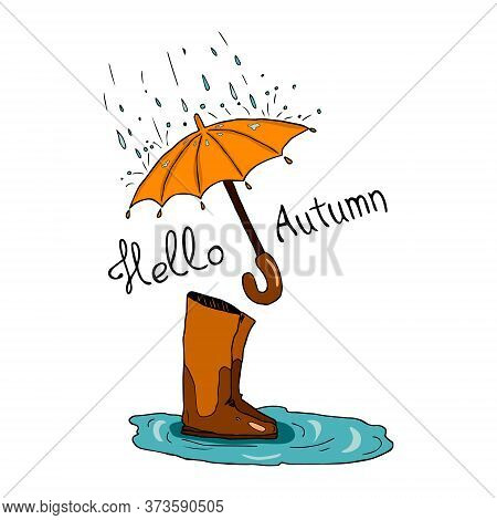 Vector Illustration Doodle Of Umbrella And Rainy Weather Isolated On White Background. Hand Drawn De