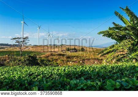 Wind Turbines On Hill In The Khao Kho Park, Thailand. Clean Energy, Eco Power Energy, Green Energy.