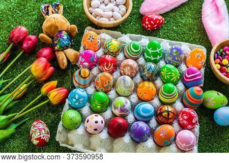 Easter Holiday Concept,colorful Easter Eggs In Egg Box,basket Easter Eggs,candy Basket,rabbit Doll I