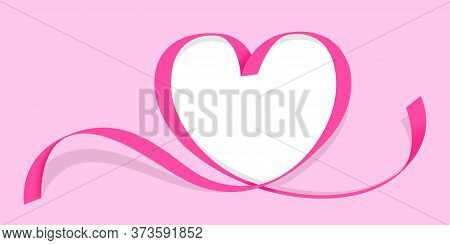 Ribbon Pink Heart Shape Isolated On Pink, Copy Space, Ribbon Line Pink Heart-shaped, Heart Shape Rib