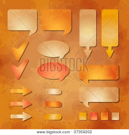 Set Of Vector Web Design Elements On The Kraft Paper Background
