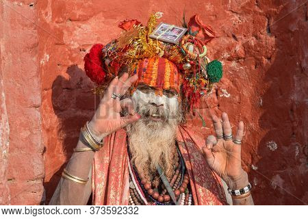 Kathmandu, Nepal : October-18-2018 : Portrait Of Happiness Sadhu (yogi Or Holy Man) In Pashupatinath