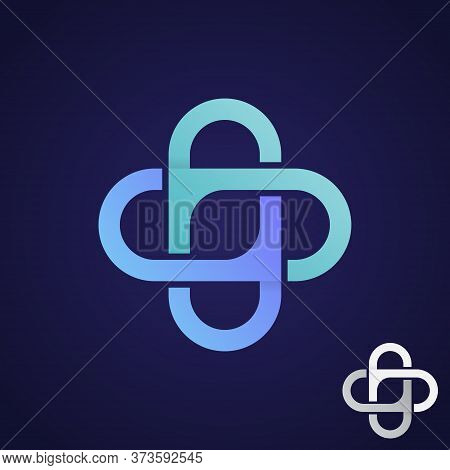 Infinity Cross Health Technology Icon Symbol. Healthcare And Hospital Technology Symbol. Vector Illu