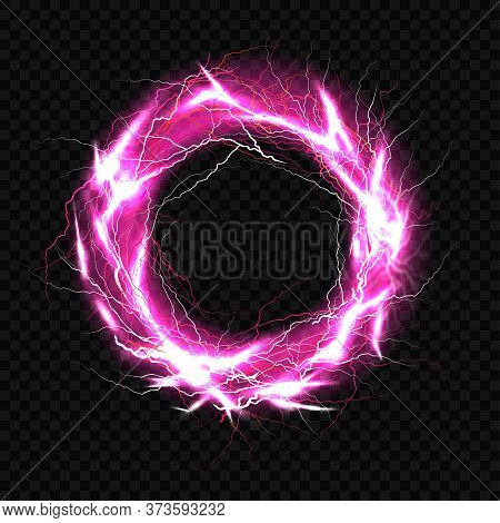 Electric Ball, Lightning Circle Strike Impact Place, Plasma Sphere In Purple Color Isolated On Dark