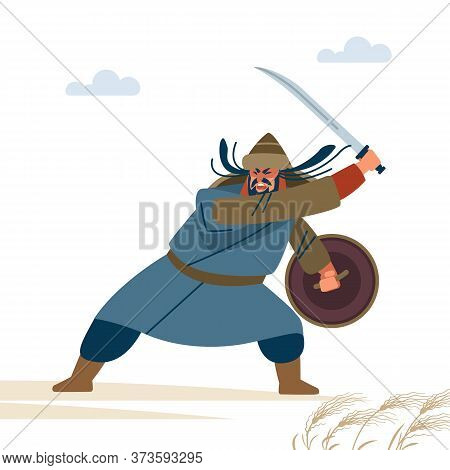 Fierce Medieval Warrior In Battle. Historical Illustration. Isolated Vector Flat Illustration.