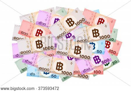 Banknote Money Thai Baht Isolated On White, Money 1000, 500, 100, 50, 20 Baht In Top View, Thai Curr