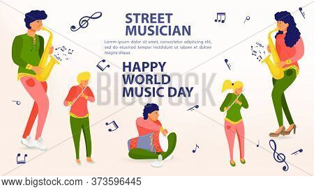 Set Of People Playing Musical Instruments, Saxophone, Flute, Drum, Men And Women, Street Musician, W
