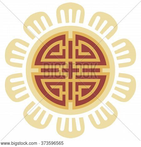 Oriental Isolated Pattern Object Round Geometry Cross Tracery Frame Chain Line