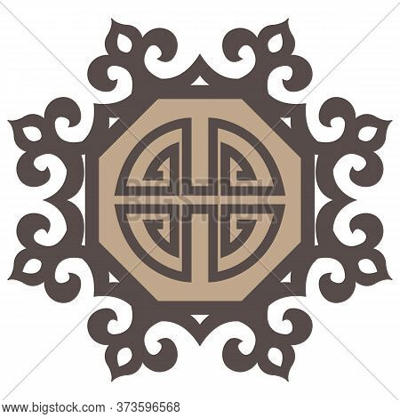 Oriental Isolated Pattern Object Polygon Round Geometry Cross Tracery Frame Chain